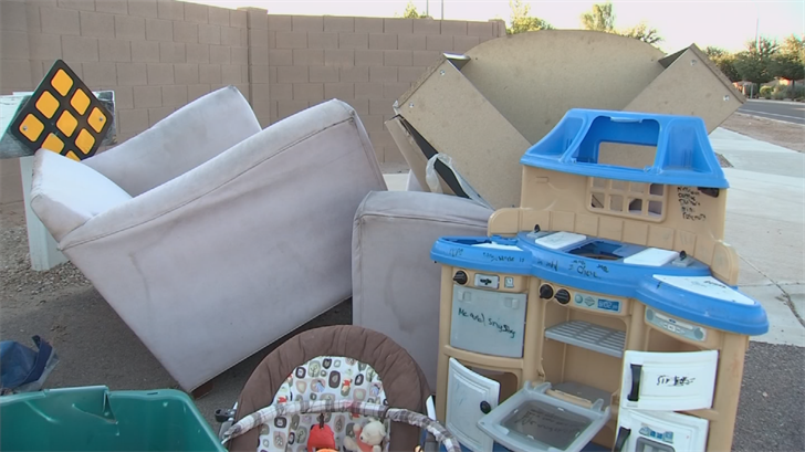 Furniture and other items have been dumped along 47th Avenue near Baseline Road over the past several days. (Source: 3TV/CBS 5)