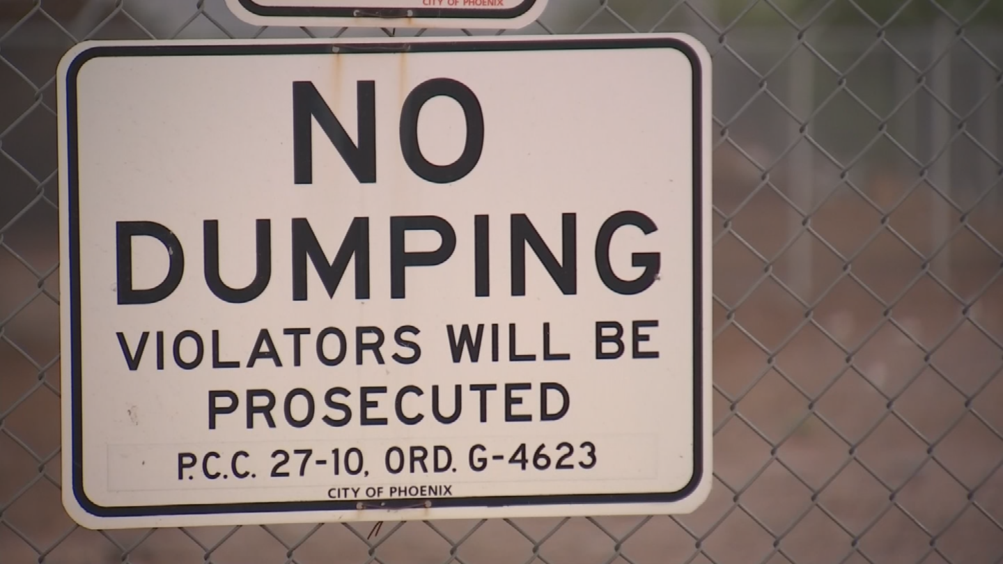 "The City of Phoenix said it will work with neighbors in particularly troublesome spots to install ""no dumping"" signs. (Source: 3TV/CBS 5)"