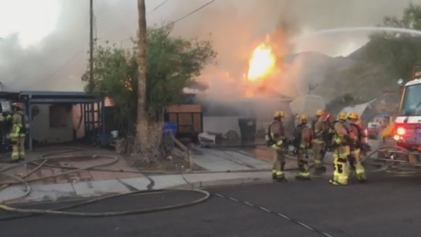 Firefighters had to fight from a defensive position due to the big flames and power lines that were down. (Source: Phoenix Fire Department)