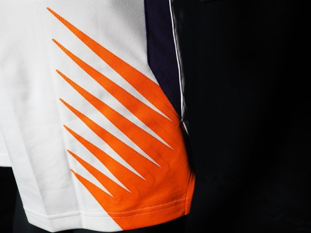 """The shorts are mostly white with the """"Sunburst"""", an ode to the team's original logo, which is on the side of the legs. (Source: Phoenix Suns)"""