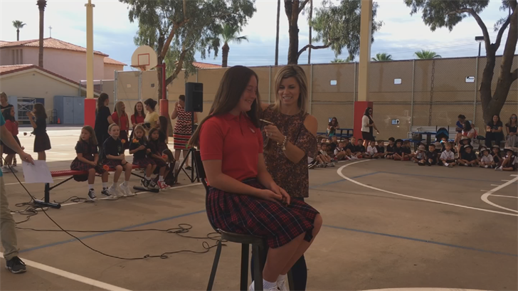 Fifteengirls from St. Thomas the Apostle Roman Catholic School donated their hair for cancer patients. (Source: 3TV/CBS 5)