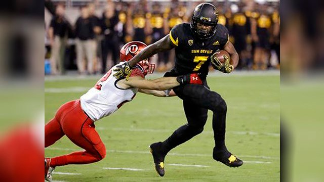 FILE - In this Nov. 10, 2016, file photo, Arizona State running back Kalen Ballage (7) sheds Utah defensive back Chase Hansen (22) during the first half of an NCAA college football game in Tempe, Ariz. (Source: AP Photo/Matt York, File)