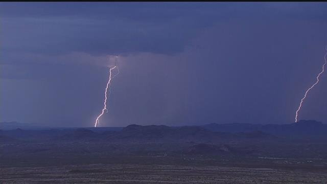 Lightning over Wickenburg as seen from the Penguin Air and Pumping News Chopper (Source: 3TV/CBS 5)