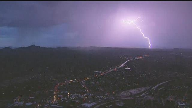 Lighting lit up the sky over Wickenburg Thursday evening. (Source: 3TV/CBS 5)