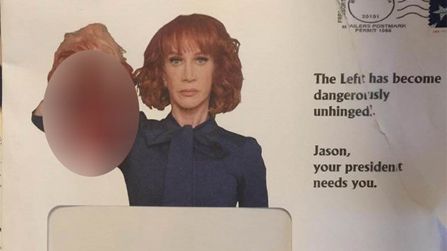 Republican Kelli Ward, a former state senator, sent out a letter with the infamous picture of comedienne Kathy Griffin holding a decapitated, bloody head, in the image of President Donald Trump. (Source: 3TV/CBS 5)