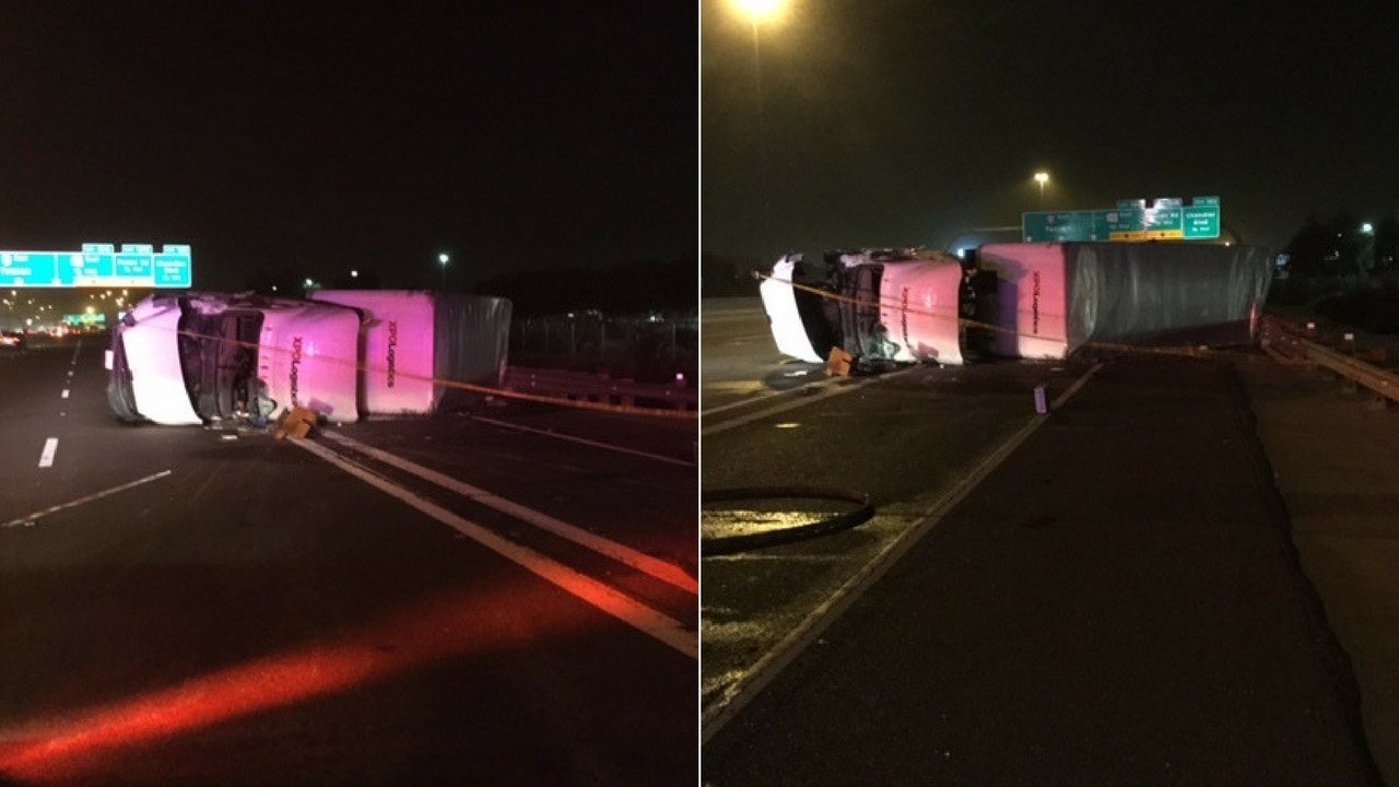 A semi-truck rolled over on Interstate 10 causing a six vehicle accident late Thursday night in Phoenix. (Source: 3TV/CBS 5)