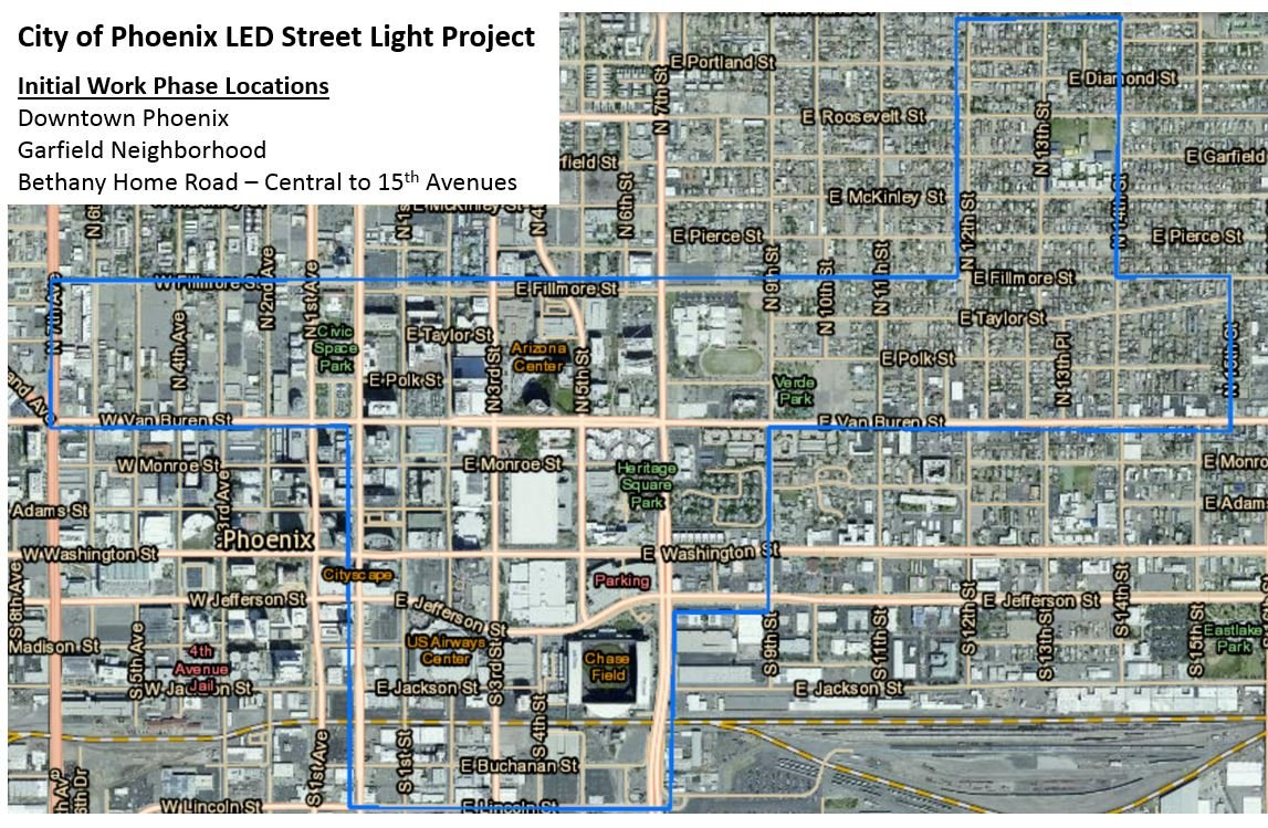 This project will be conducted throughout downtown Phoenix, the Garfield neighborhood and along Bethany Home Road between Central and 15th avenues. (Source: City of Phoenix Street Transportation Department)