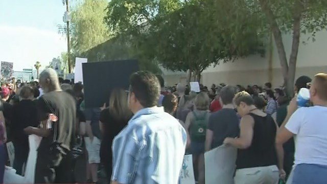 Hundreds came together in downtown Phoenix to protest hate. (Source: 3TV/CBS 5)