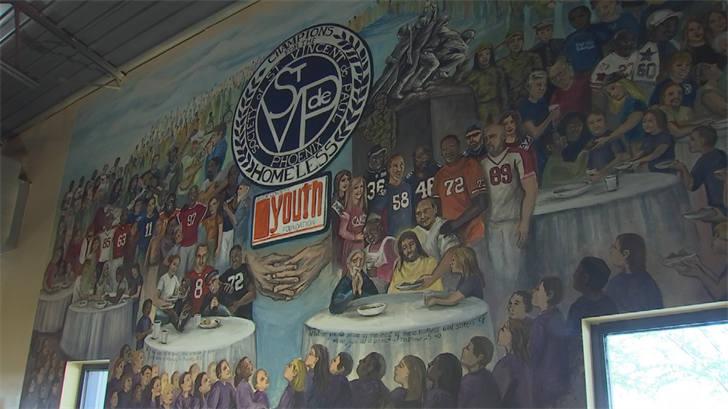 Laura Thurbon, an artist, created a mural the featured all of the people who helped serve the homeless. (Source: 3TV/CBS 5)