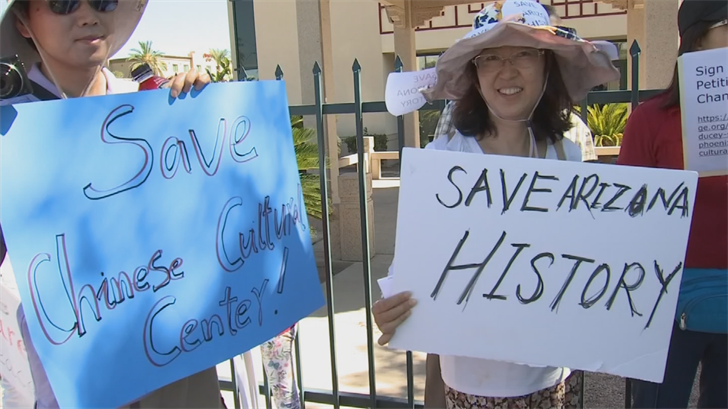 """Dozens of demonstrators came together to """"save"""" the Phoenix Cultural Center near Sky Harbor. (Source: 3TV/CBS 5)"""