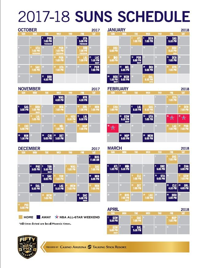 The Suns start the season on on Wednesday, Oct. 18 at 7 p.m. (Source: Phoenix Suns)
