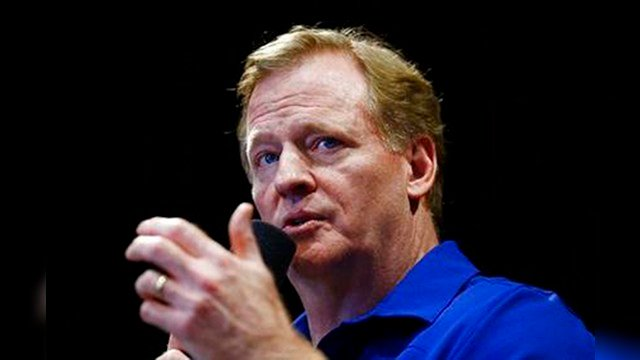 NFL Commissioner Roger Goodell talks with Arizona Cardinals football team season ticket holders at University of Phoenix Stadium, Monday, Aug. 14, 2017, in Glendale, Ariz. (Source: AP Photo/Ross D. Franklin)
