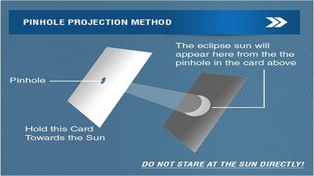 There are special glasses that are selling out quickly but if you can't get a hold of a pair, here is a simple and inexpensive way to see the eclipse. (Source: americaneclipse.com)