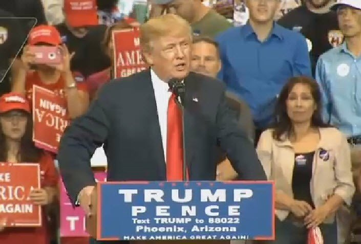 Donald Trump speaking at a Phoenix rally last October. (Source: 3TV/CBS 5)