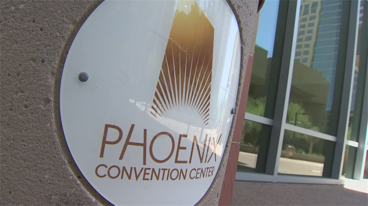 The rally is at the Phoenix Convention Center. (Source: 3TV/CBS 5)