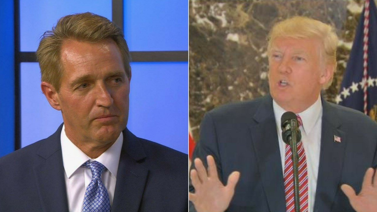 President Trump took a jab at Arizona Sen. Jeff Flake on Twitter leading up to his August 22 Phoenix rally. (Source: 3TV/CBS 5 file photos)