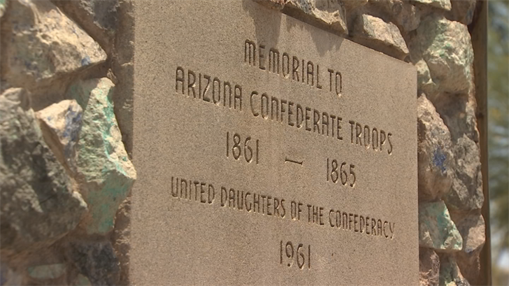 A Confederate monument in Phoenix was defaced overnight by vandals who painted it white