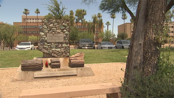 Crews were quickly dispatched to power wash the white paint off the monument. (Source: 3TV/CBS 5 file photo)