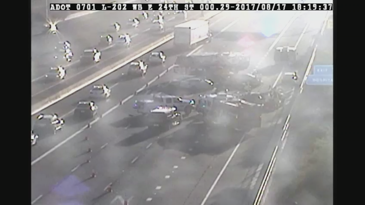 Five people were hurt in a crash on the Loop 202 freeway at 24th Street. (Source: ADOT)