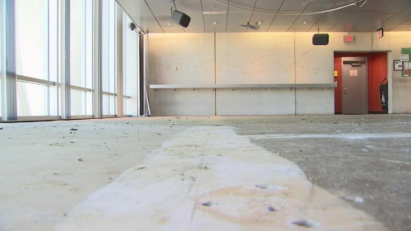 Library storm damage tour on Aug. 18. (Source: 3TV/CBS 5)