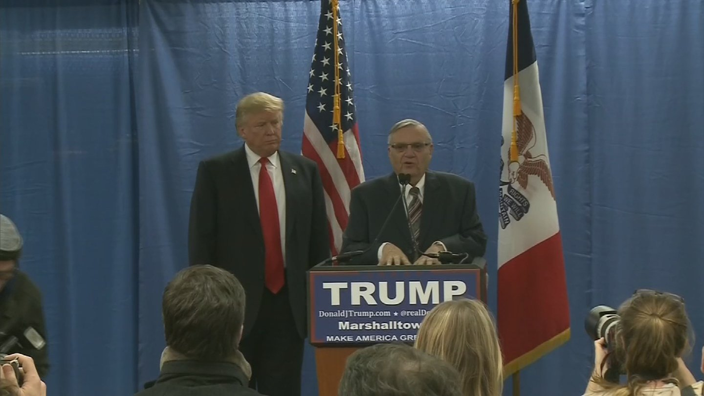 "President Trump told Fox News he's ""seriously considering"" pardoning former County sheriff Joe Arpaio. (Source: 3TV/CBS 5)"