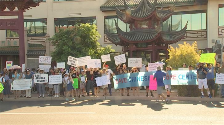More than 100 people came out to show they wanted the Chinese Cultural Center preserved. (Source: 3TV/CBS 5)