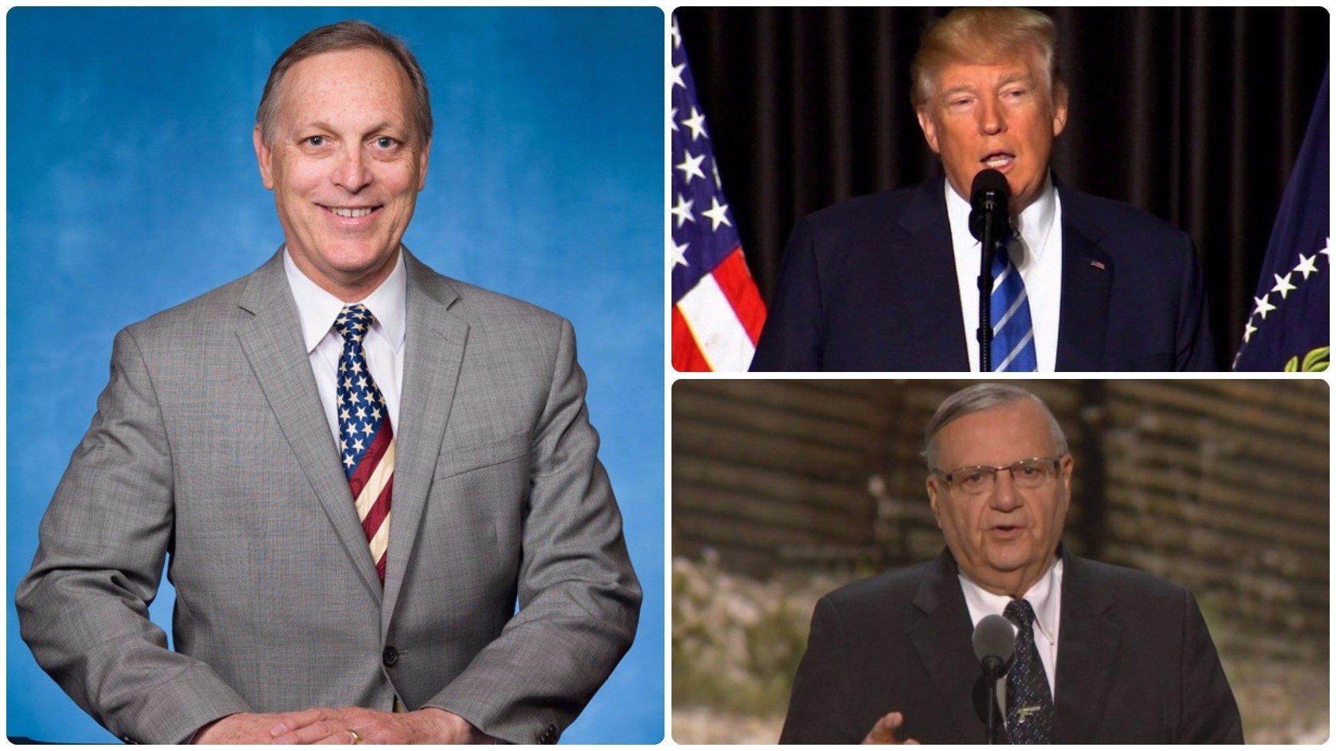 Rep. Andy Biggs is calling on President Donald Trump to pardon former Maricopa County Sheriff Joe Arpaio. (Source: 3TV/CBS 5 file photos)