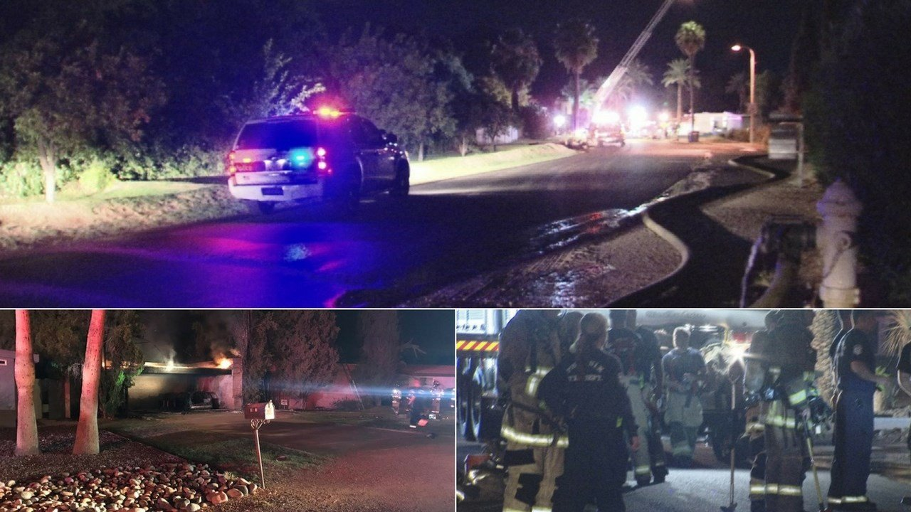 A woman was transported in extremely critical condition after becoming trapped by a fire inside her home early Tuesday morning. (Source: 3TV/CBS 5/Phoenix FD)
