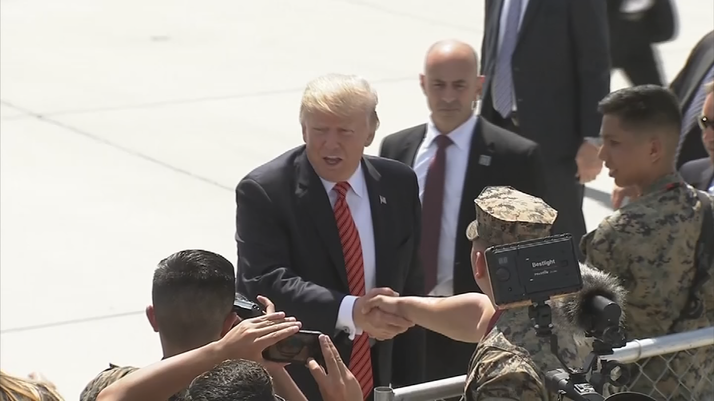 President Trump spent about 20 minutes greeting service members during his visit at a Marines base in Yuma. (Source: 3TV/CBS 5)