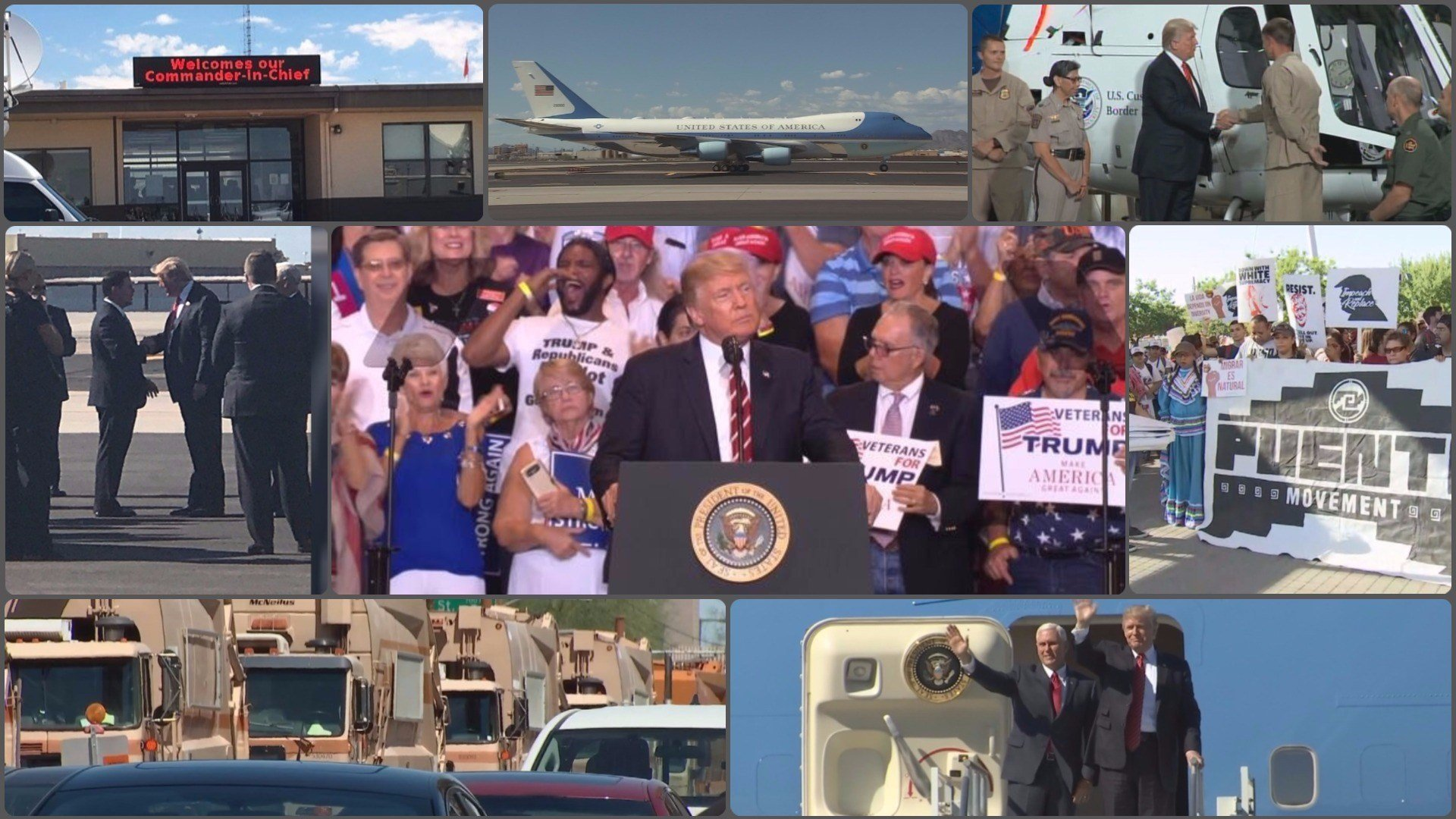 President Donald Trump visited Yuma and Phoenix on Tuesday, Aug. 22. (Source: 3TV/CBS 5)