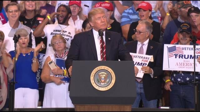 President Donald Trump hosted a rally in Phoenix on Tuesday, Aug. 22, 2017. (Source: 3TV/CBS 5)