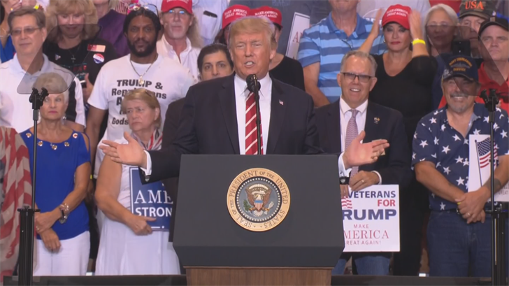 President Trump speaks to his supporters at a campaign rally in Phoenix. (Source: 3TV/CBS 5)