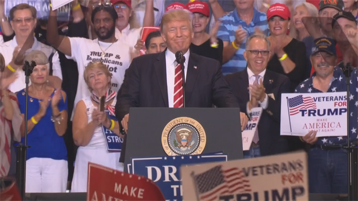 Trump opened his political rally in Phoenix with a call for unity. (Source: 3TV/CBS 5)