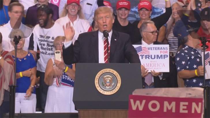 """Trump quickly trained his ire on the media, shouting that he """"openly called for healing unity and love"""" in the immediate aftermath of Charlottesville. (Source: 3TV/CBS 5)"""