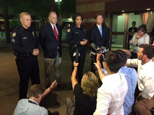 Phoenix city officials speak about the unruly protest after the Trump protest in downtown Phoenix. (Source: 3TV/CBS 5)