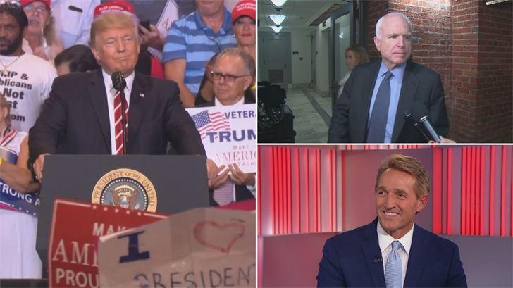 The president didn't name any names but he took obvious verbal shots at Sen. John McCain and Sen. Jeff Flake. (Source: 3TV/CBS 5/CNN)