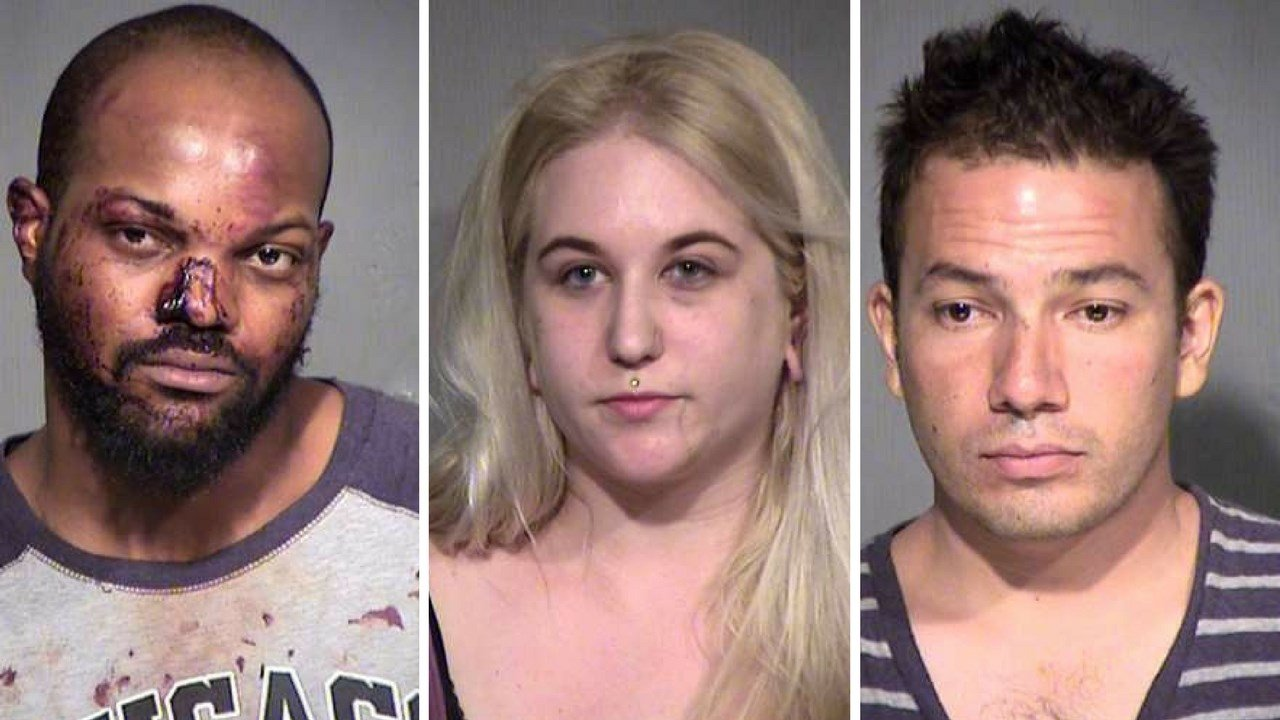 Daireus Stokes, Pamela Robertson, Derrick Pacheco all arrested after protesting outside President Trump's rally in Phoenix Tuesday night. (Source: Maricopa County Sheriff's Office)