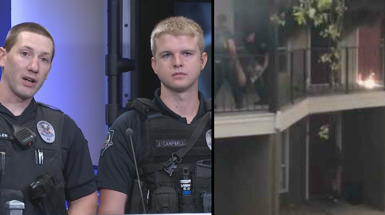 Ofc. Jake Campbell and Ofc. Mike Mullen spoke about saving a woman from an apartment fire last week. (Source: 3TV/CBS 5)