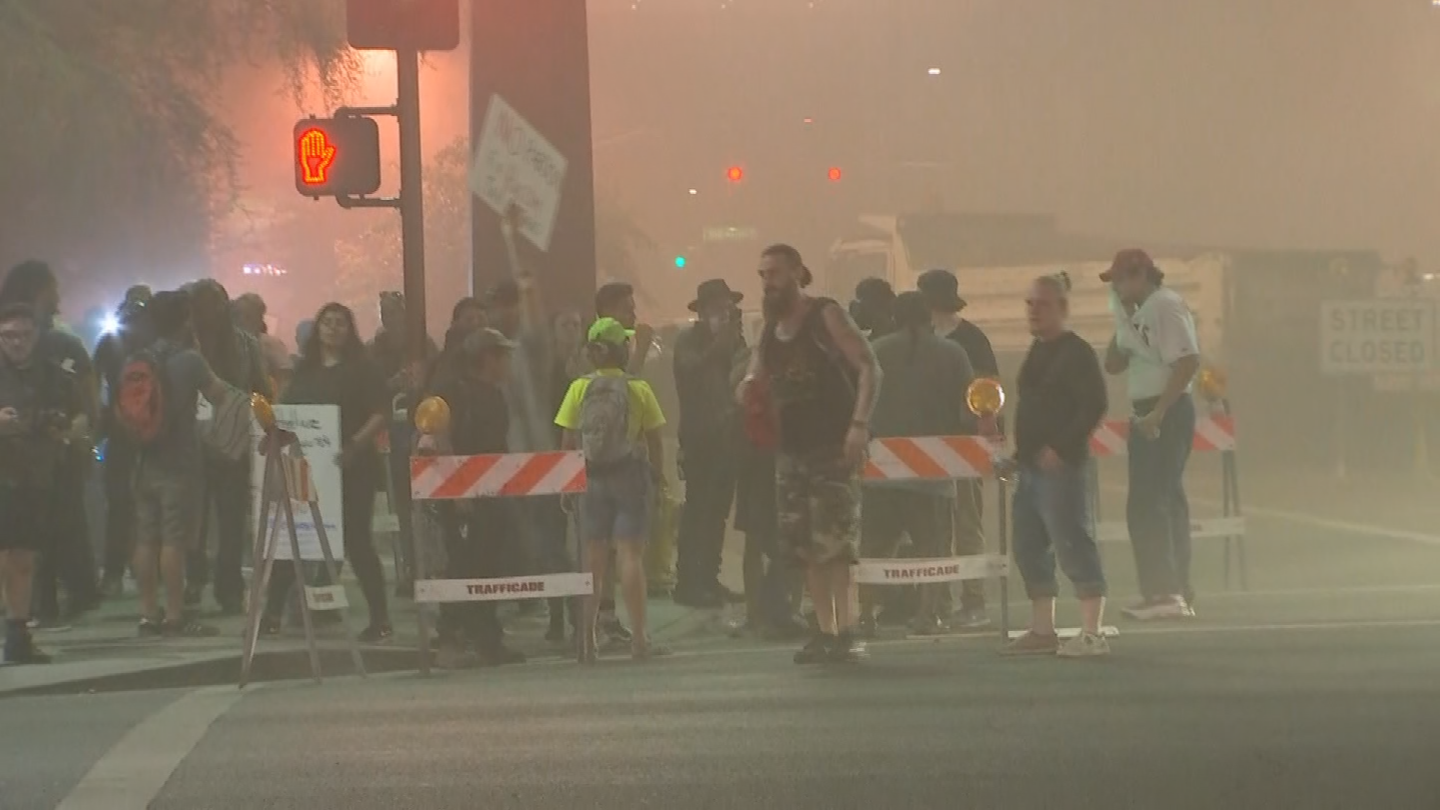 "Rep. Ruben Gallego (D-AZ) is calling for ""a full and transparent investigation"" after officers used tear gas, smoke, pepper balls and pepper spray to disperse a crowd that remained near Phoenix Convention Center after the rally ended. (Source: 3TV/CBS5)"