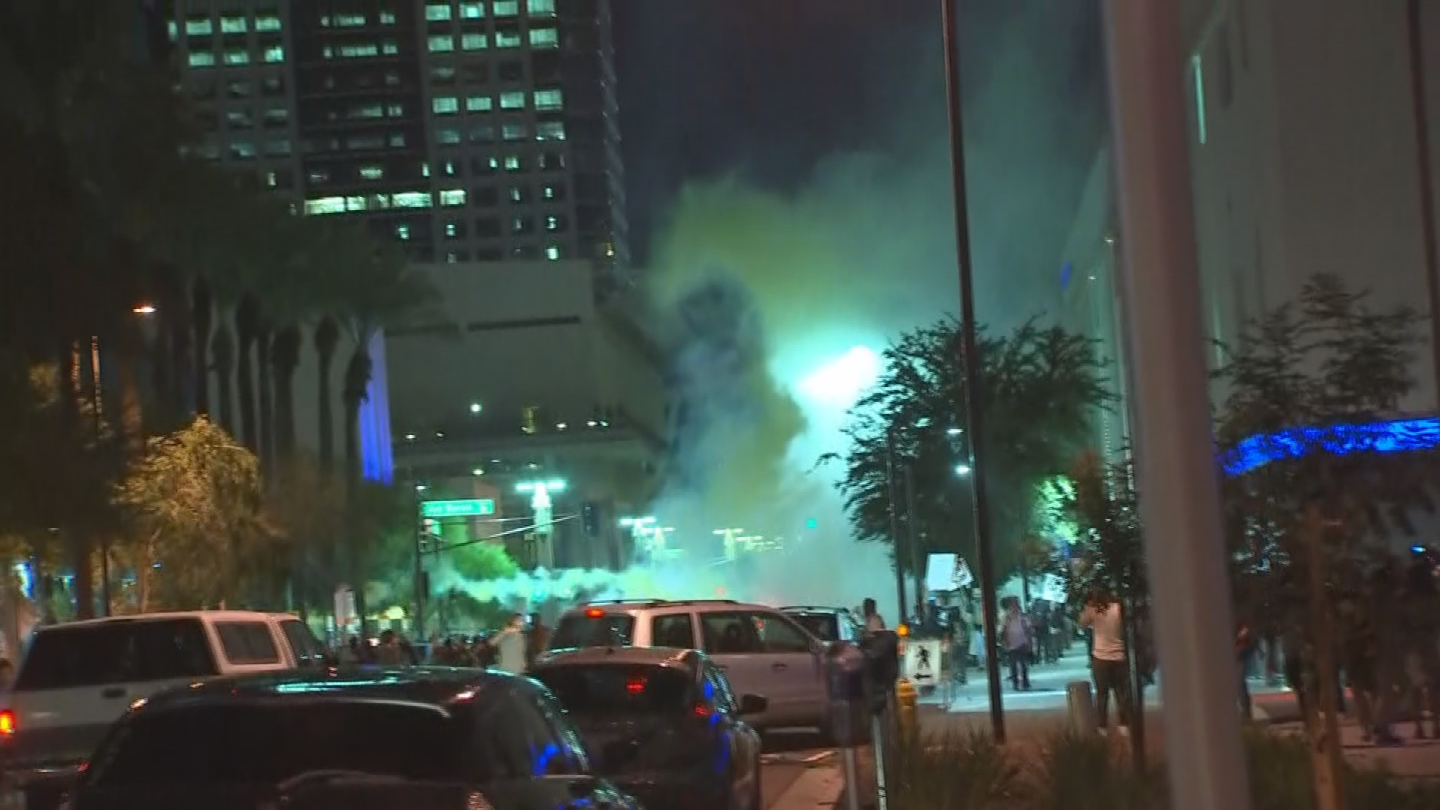 Protest organizers worked hard to maintain peace and order. Arizona activists say police acted aggressively and violently during the mostly peaceful protest on Tuesday. (Source: 3TV/CBS 5)