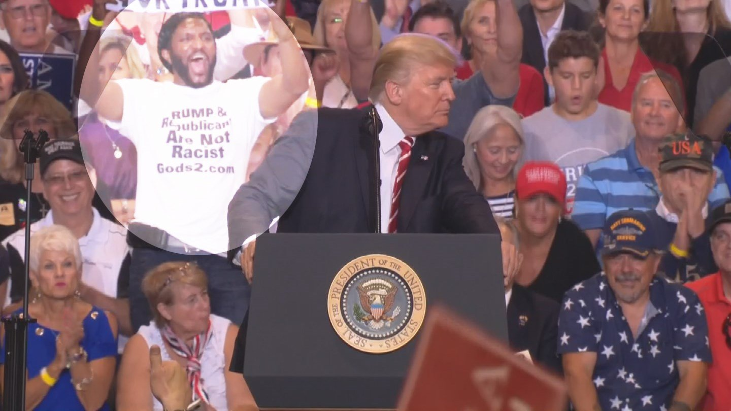 Maurice Symonette could be seen behind Donald Trump at Tuesday's rally in Phoenix. (Source: 3TV/CBS 5)