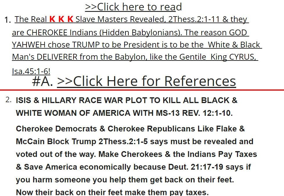 """He was seen promoting a website on which he blames slavery on Cherokee Indians and refers to former president Barack Obama as """"The Beast,"""" Oprah Winfrey as """"The Devil"""" and Hillary Clinton as a member of the KKK. (Source: honestfact.com)"""