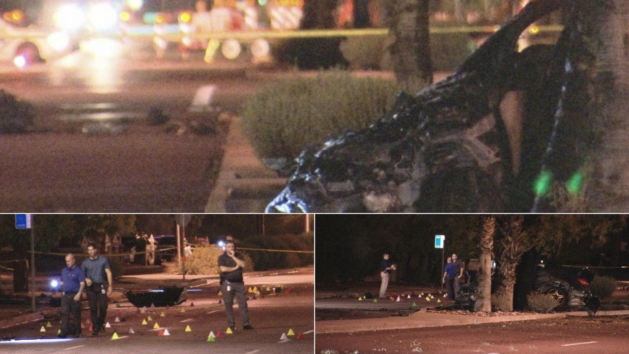 One person is dead and two others are injured after a car involved in an accident struck a tree and burst into flames in Phoenix late Wednesday night. (Source: 3TV/CBS 5)