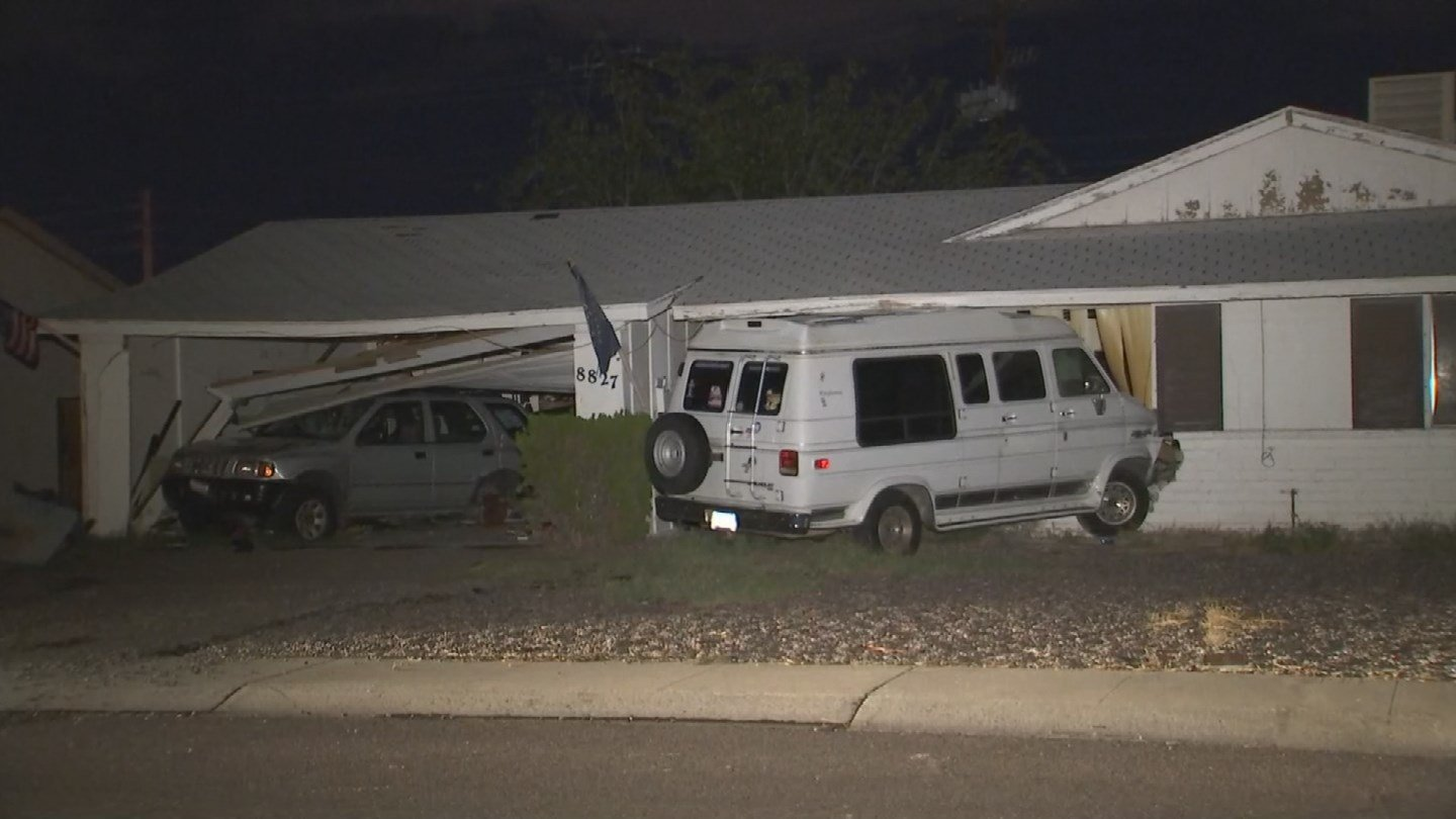 A 13-year-old girl stole a van, driving it intoa car andthrough a house, according to Phoenix police. (Source: 3TV/CBS 5)