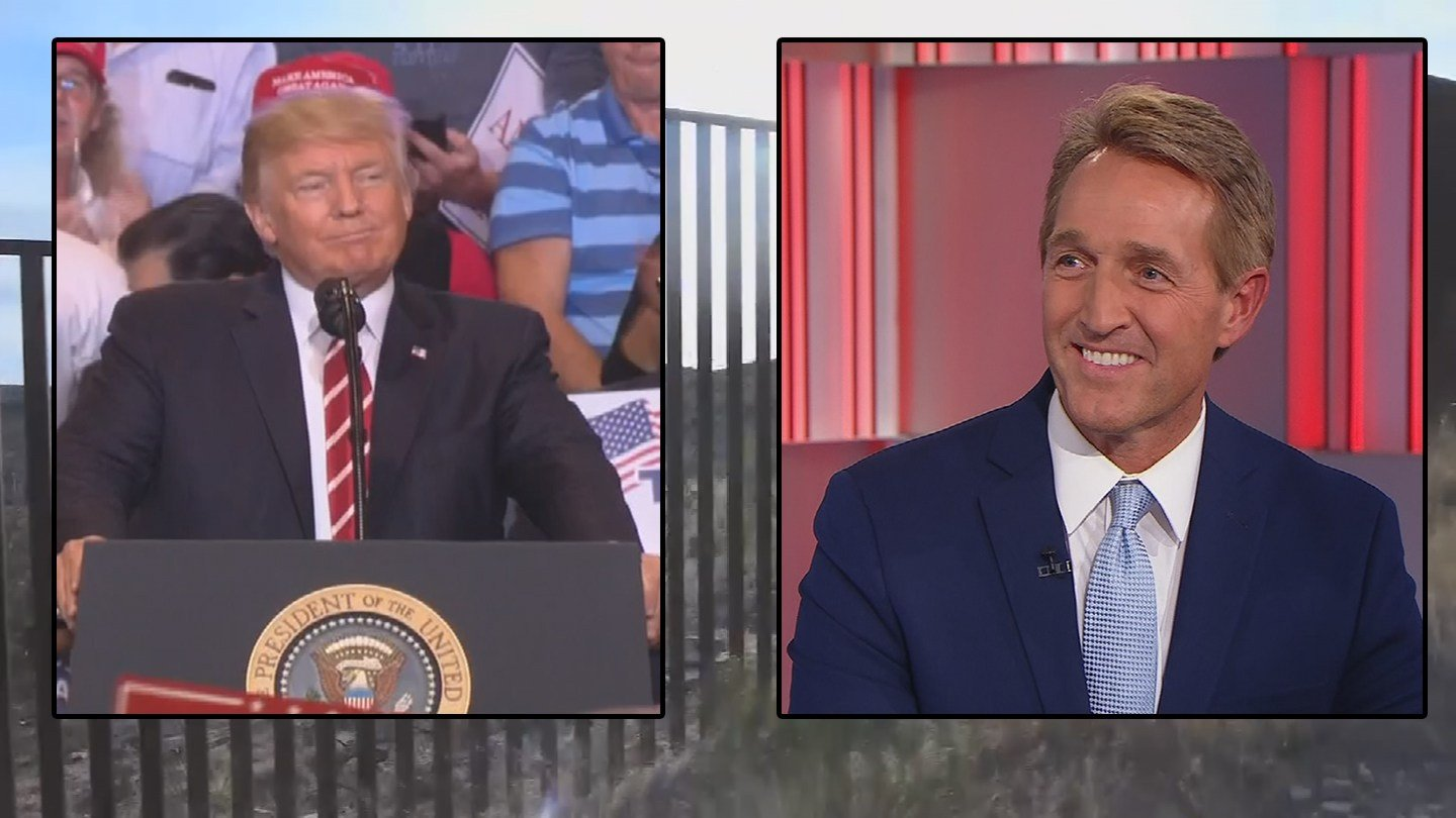 Sen. Jeff Flake wants to work with Trump on immigration but both have been critical of each other. (Source: 3TV/CBS 5/CNN)