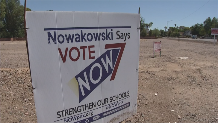 The signs are plastering Phoenix City Councilman Michael Nowakowski's name throughout the city, even outside the boundaries of District 7, the area he represents. (Source: 3TV/CBS 5)