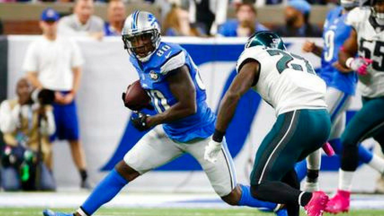 FILE- In this Oct. 9, 2016, file photo, Detroit Lions wide receiver Anquan Boldin (80) rushes against the Philadelphia Eagles during an NFL football game at Ford Field in Detroit. (AP Photo/Rick Osentoski, File)