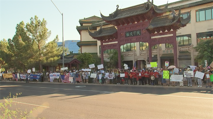 During the past few weeks, protesters have braved the heat in order to help save the Cultural Center near 44th Street and Van Buren Street. (Source: 3TV/CBS 5)