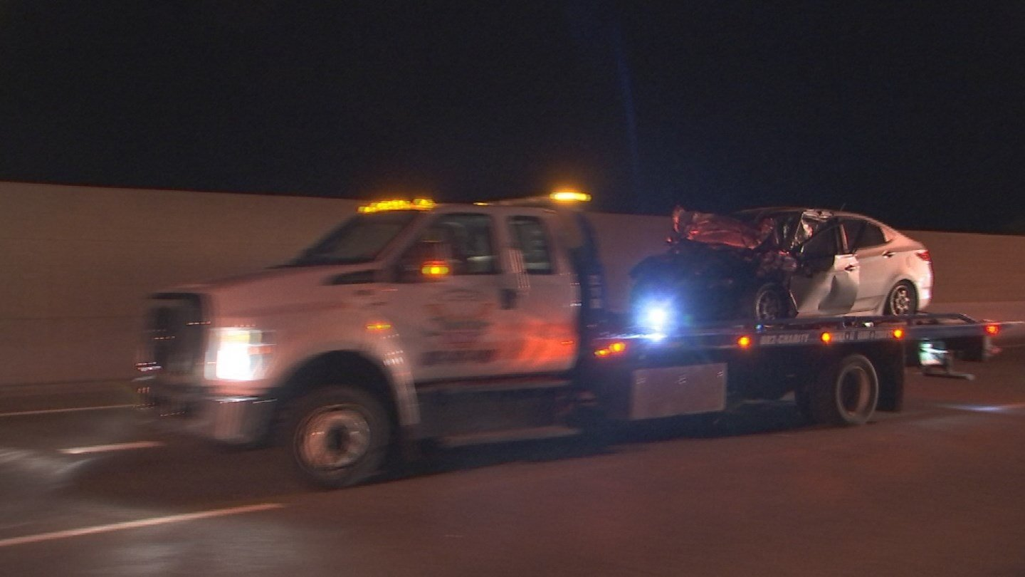 One person is dead and another was hospitalized after a collision late Sunday night on westbound Loop 101. (Source: 3TV/CBS 5)