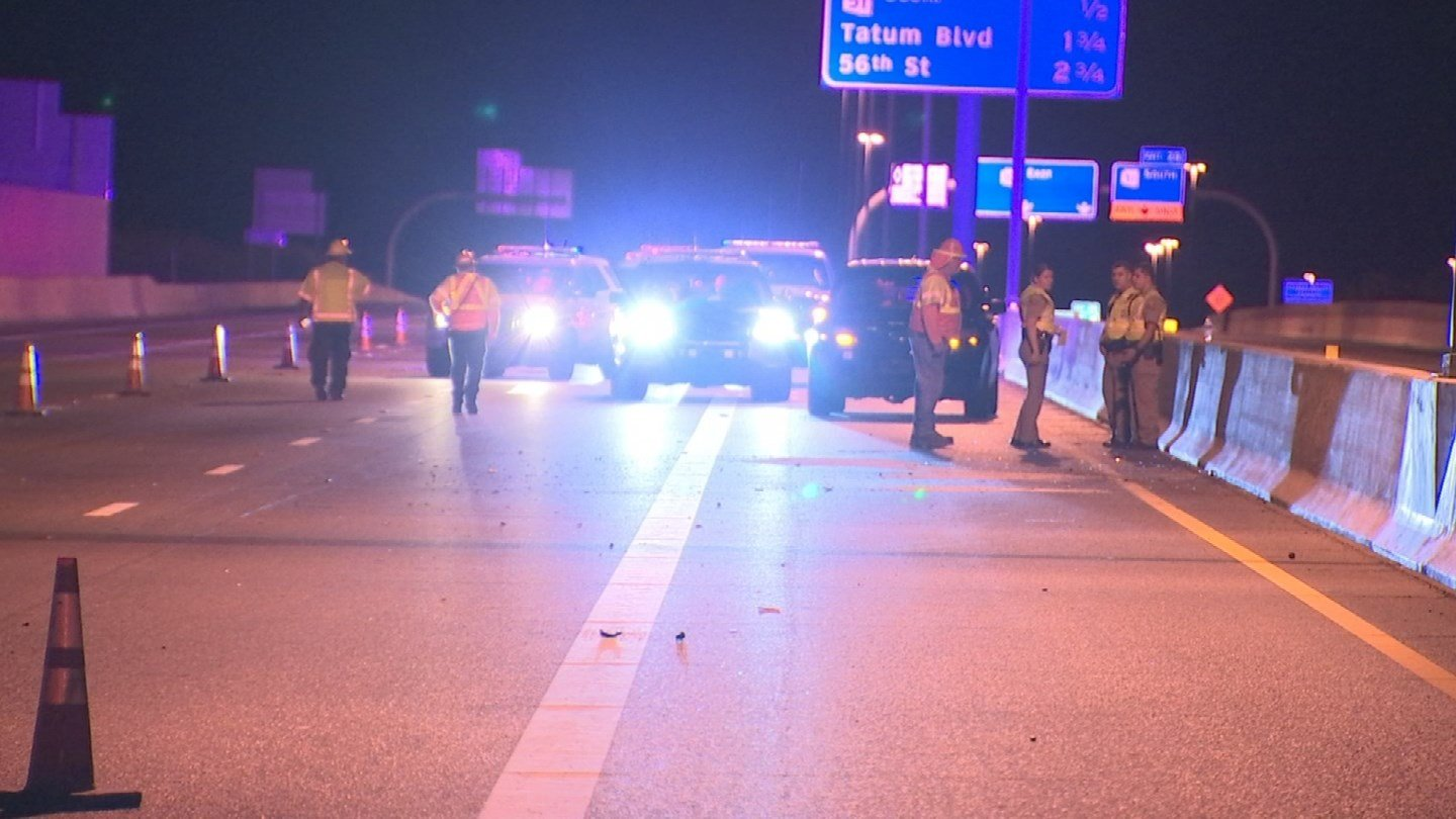 The two-vehicle collision occurred on the westbound Loop 101 at State Route 51 sometime before 10:20 p.m. (Source: 3TV/CBS 5)